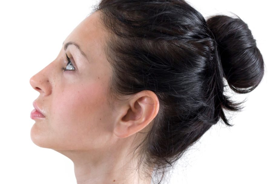 profile of a middle aged woman with a beautiful chin line